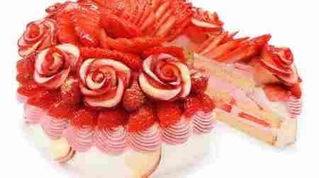 【本日発売】カフェコムサに「アップルローズといちごのショートケーキ」